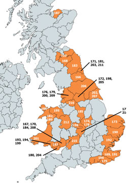 A map showing equine influenza outbreaks in the uk